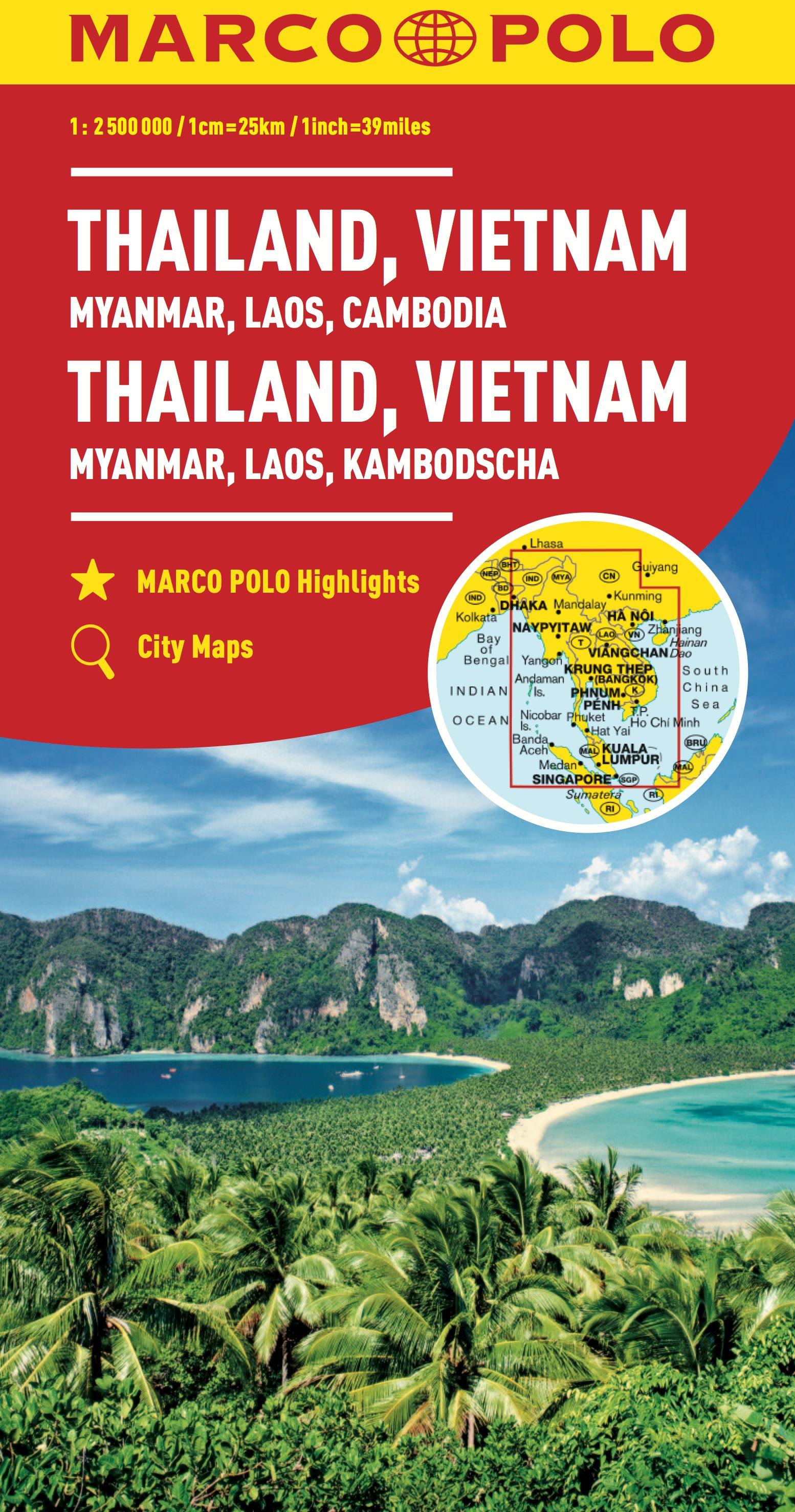 Tra Vietnam E Thailandia Cartina Geografica.Thailandia Vietnam Laos Cambogia Carte Stradali Marco Polo Edt